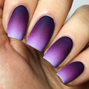 Matte Purple Ombre Nail Design