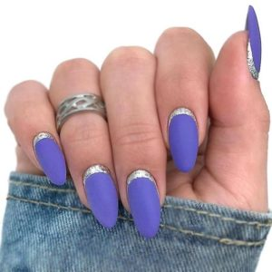 Purple Nails with Silver Cuticle Detail