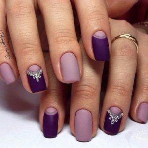Matte Two Tone Purple Nails