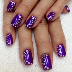 Purple Nail Design with Silver Polka Dots