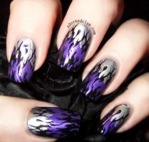 Silver and Purple Flame Design Nails
