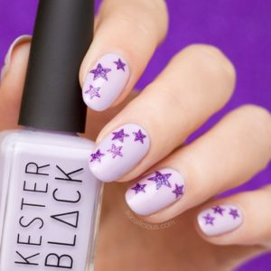 Purple Nails with Cute Little Stars