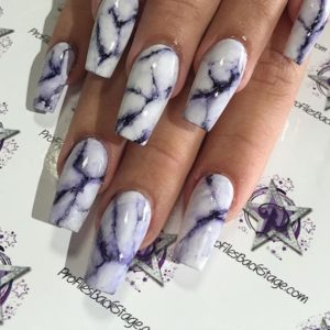 White and Purple Marble Nails