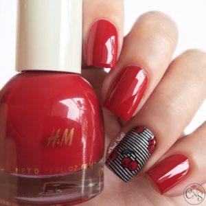 Cherry Stripes nails