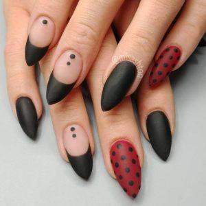 red black matte nails