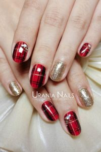 red black Glitter nails