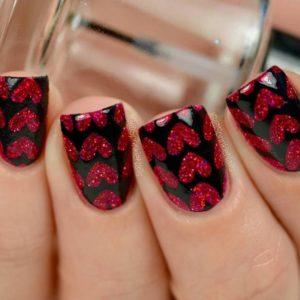 Glitter Hearts nails