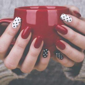 polka dot red nails