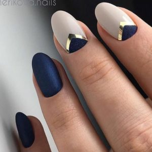 blue and nude fall nails