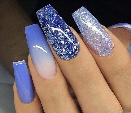 blue glittercoffin nails