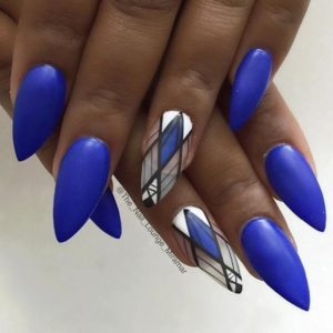 bright blue geometric nails