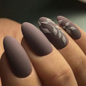 brown oval nails