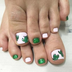 cute cactus toenail look