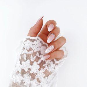 white bridal nails