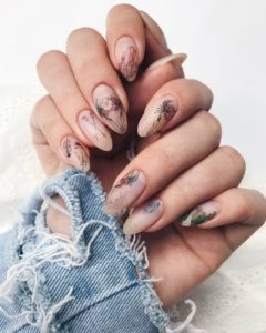 nude nails with boho prints