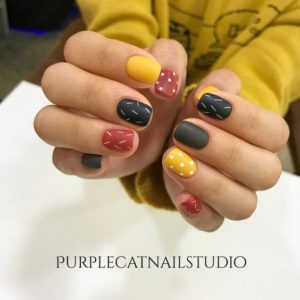 colorful fall nail look