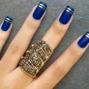 dark blue gold nail ideas
