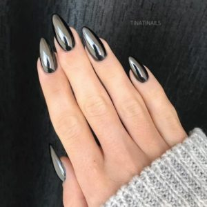 Almond shaped gray metallic nail look