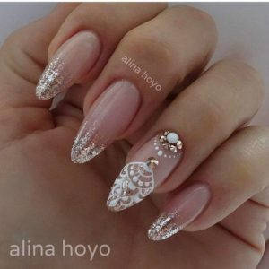 Cute french manicure for brides