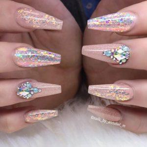 glitter diamond nails