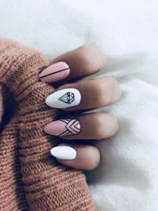 diamond pink white nails