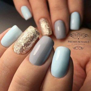 lue gold gray nails