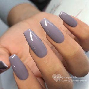 glossy gray nails