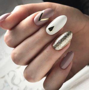 gold and shimmer wedding nails