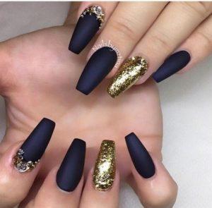 gold blue nail desins