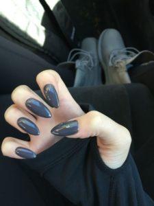 gray stiletto nails