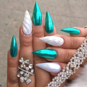 green and white stiletto nails with 3D prints