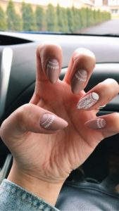 nude and white half moon nails