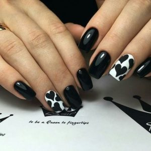 black and white heart nails