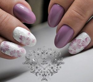 lavender and white nails