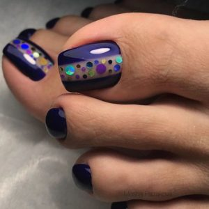 Glittery and purple longer toenails