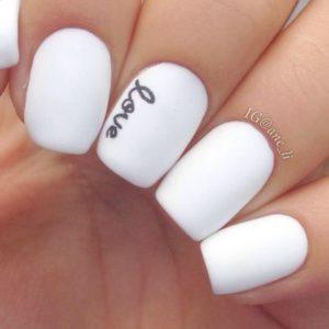 black and white love mani