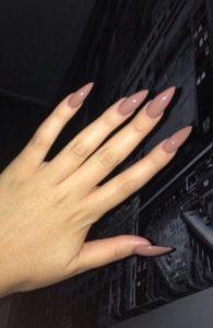 beige stiletto nail look