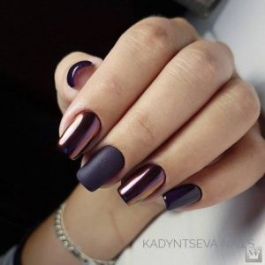 Purple metallic and matte nails