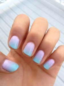pastel blue pink nails