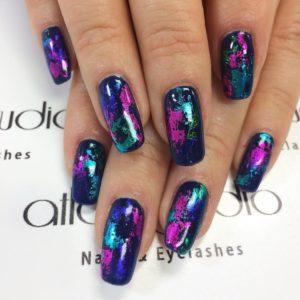 glitter blue nails