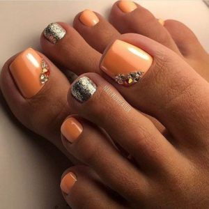 orange and shimmery toenails