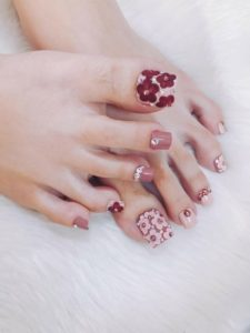 long toenails with 3D embellishment