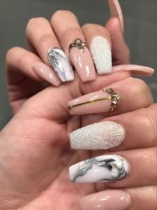 marble, shimmers and glossy nails