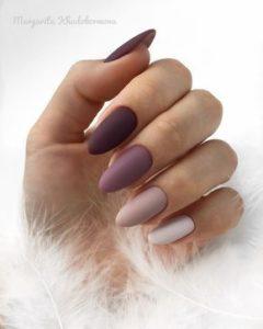 Purple, lavender and white matte nails
