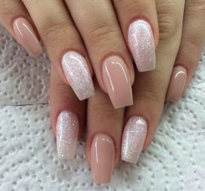 peachy nails with shimmer