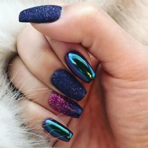 Colorful nails with shimmer and metallic nail polish
