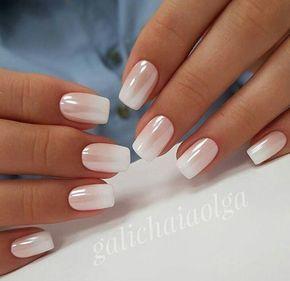 glittery white short nail look