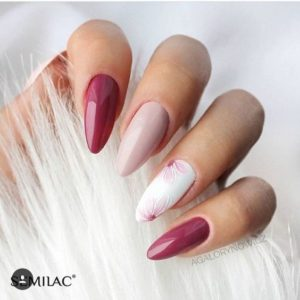 pink and white almond shaped nails