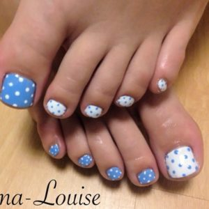 blue and white polka dot combo