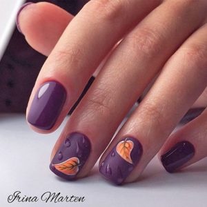 purple and orange short nails